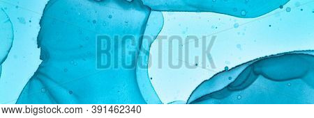 Abstract Teal Wallpaper. Alcohol Ink Illustration. Blue Aqua Art Texture. Sophisticated Flow Paint.