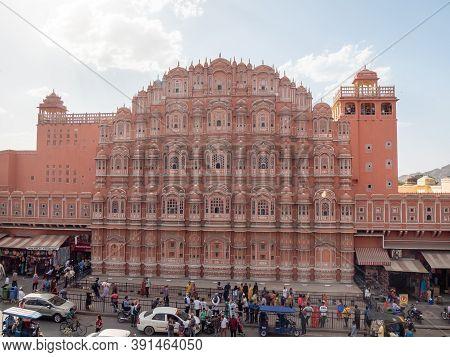 Jaipur, India - March 20, 2019: An Afternoon Shot Of Hawa Mahal Palace In Jaipur