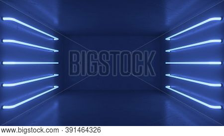 Abstract Blue Room Interior With Blue Glowing Neon Lamps, Fluorescent Lamps. Futuristic Architecture