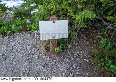 Edith Creek Sign In Mount Rainier National Park Washington State