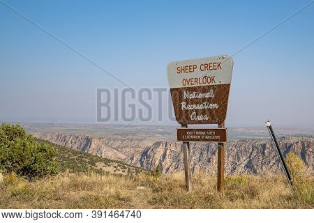 Utah, Usa - September 21, 2020: Sign For The Sheep Creek Overlook, In The Flaming Gorge National Rec