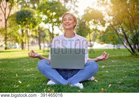 Businesswoman Sitting Grass Summer Park Using Laptop Business Person Working Remote. Outdoor Success