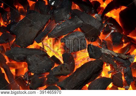 The Texture Of Burning And Non-burning Coal Anthracite.