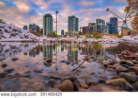 Cloudy Reflections Over A Wintry Downtown Calgary