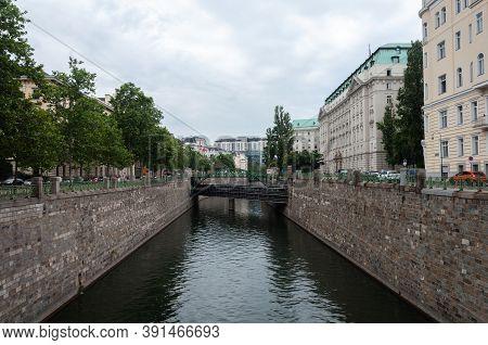 View Of Wien River In Center Of Vienna, Austria, Summer Time