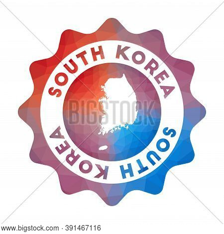 South Korea Low Poly Logo. Colorful Gradient Travel Logo Of The Country In Geometric Style. Multicol
