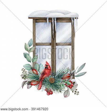 Winter Window With Christmas Arrangement Watercolor Illustration. Hand Drawn Festive Floral Arrangem