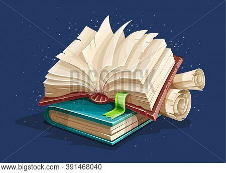 Magic book from fairy tale with spreading pages. Book spreadsheet and vintage paper manuscripts with torn page. 3D illustration.