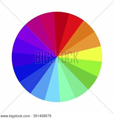 Vector Image Of A Color Wheel. Chromatic Round Bright Palette. Rainbow Shades Of Different Colors. S