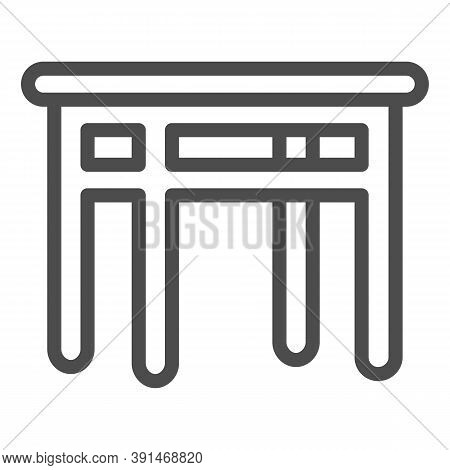 Dining Table Line Icon, Kitchen Interior Concept, Furniture For Dining Room Sign On White Background