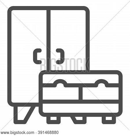 Wardrobe And Cabinet Line Icon, Interior Design Concept, Furniture Sign On White Background, Cupboar