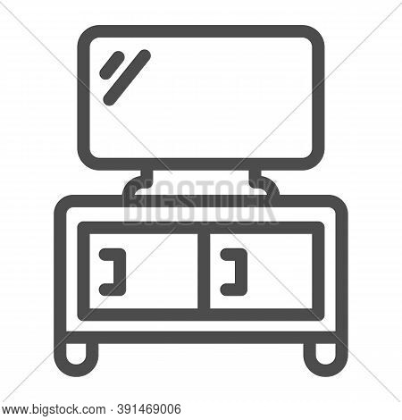 Dresser With Tv Line Icon, Furniture Concept, Home Decor With Plasma Sign On White Background, Tv St