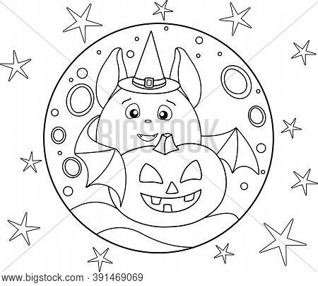 Cute Fat Bat In A Magic Hat And Halloween Pumpkin On The Background Of The Full Moon And Stars - A L