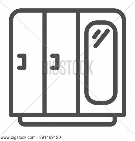 Wardrobe With Mirror Line Icon, Furniture Concept, Retro Wood Closet Sign On White Background, Cupbo