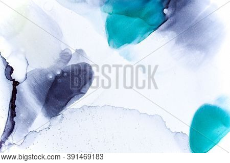 Texture With Watercolor Spots. Color Oil Effect. Contemporary Flow Art. Modern Background. Sophistic