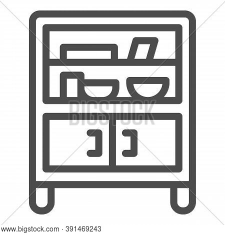 Cabinet With Glass And Shelves Line Icon, Furniture Concept, Buffet Sign On White Background, Cupboa