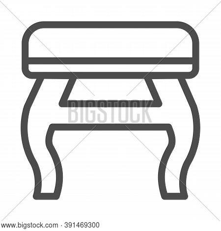 Retro Stool Line Icon, Furniture Concept, Retro Pouf With Legs Sign On White Background, Wooden Chai