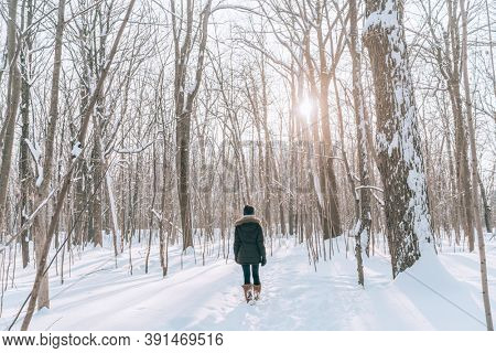 Winter forest walk woman hiking in snow with tall boots walking outdoors amongst trees.