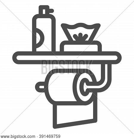 Toilet Paper, Air Freshener And Napkins Line Icon, Hygiene Concept, Toiletries Sign On White Backgro
