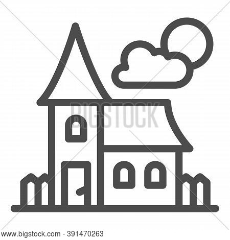 Abandoned Old House Line Icon, Halloween Concept, House At Full Moon Sign On White Background, Scary