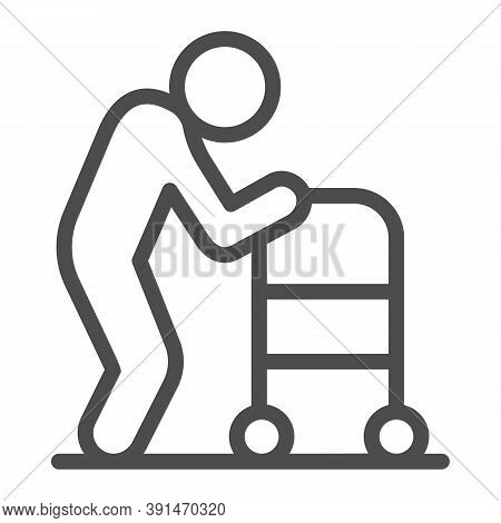 Elderly Man With Paddle Walker Line Icon, Medical Concept, Disabled Person With Walker Sign On White