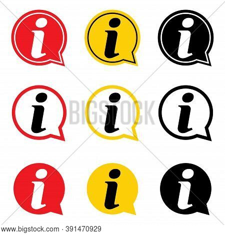 Set Of Information Help Icon, Helpdesk Info Bubble Desk. Vector Sing Isolated On White Background