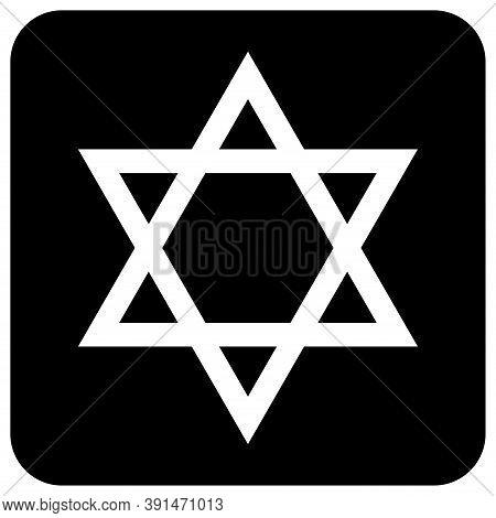 David Star Icon, Israel Symbol Of Religion Judaism. Hexagram Jerusalem Symbol. Biblical Flat Seal