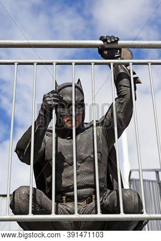 Umea, Norrland Sweden - September 5, 2020: Batman Squats At The Ledge
