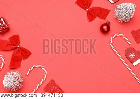 Christmas Background. Stocking, Gifts, Winter Tree, Ribbon And Bow In Shape Frame On Red Background