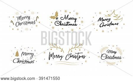 Merry Christmas And Happy New Year Lettering. Logo Design For Postcard, Invitation, Greeting Card, P