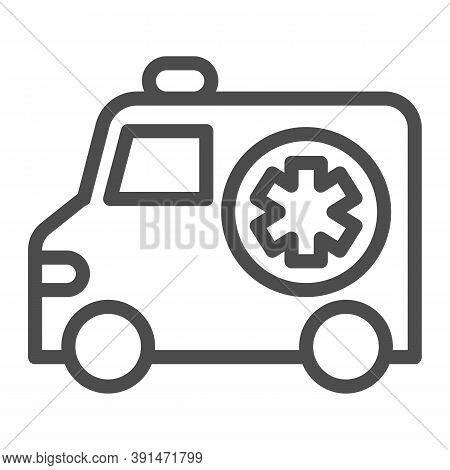 Ambulance Car Line Icon, Medical Concept, Emergency Transport Sign On White Background, Emergency Am