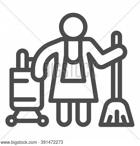 Hotel Maid Line Icon, Cleaning Service Concept, Cleaning Lady Sign On White Background, Housemaid In