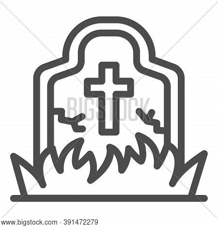 Abandoned Grave Line Icon, Halloween Concept, Grave Overgrown With Grass Sign On White Background, H