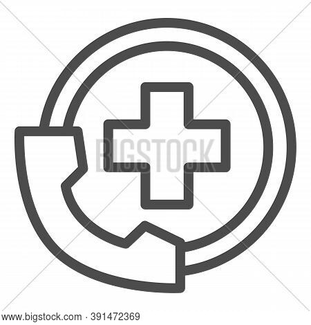 Handset And Medicine Cross Line Icon, Medical Concept, Emergency Call Sign On White Background, Hand