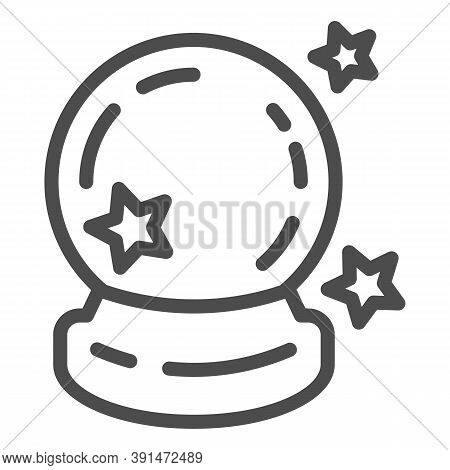Crystal Ball Line Icon, Halloween Concept, Magic Ball For Predictions Sign On White Background, Glas