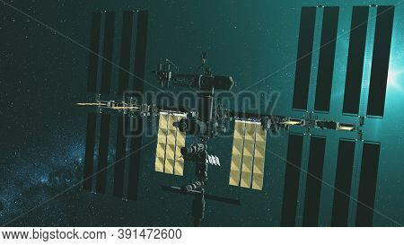 Closeup International Space Station with yellow solar panels gravity fly at green star light. Earth satellite orbital discover with NASA spacecraft mission. 3d animation in soft greenery tones