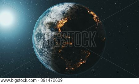 Earth planet orbit rotating at bright sun in dark outer space. Realistic third planet of Solar system orbital spin with star sky at background. Illuminated mainlands at world globus. 3d animation