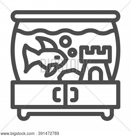 Aquarium With Fish And Castle On Pedestal Line Icon, Pets Concept, Tank Of Water With Fish Sign On W