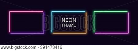Neon Rectangle Frame. Set Of Rectangular Neon Border In 2 Angular Parts. Vector Geometric Shape With