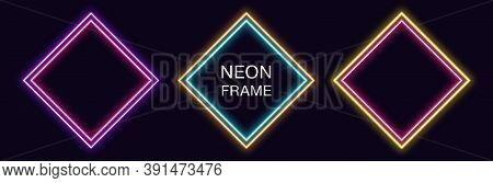 Neon Rhomb Frame. Set Of Rhombus Neon Border With Double Outline. Geometric Shape With Copy Space, F