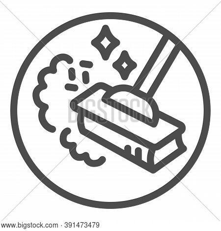 Sweeping Dust With Broom Line Icon, Housework Concept, Broom In Dust Clouds Sign On White Background