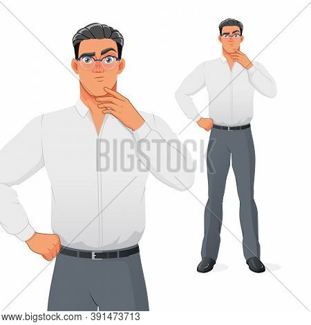 Puzzled Businessman Thinking With Hand On Chin. Isolated Vector Cartoon Character.