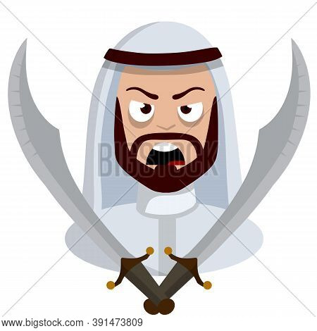 Angry Arab With Sword. Middle Eastern Medieval Warrior. Militant Man In White Clothes. Islamic Soldi