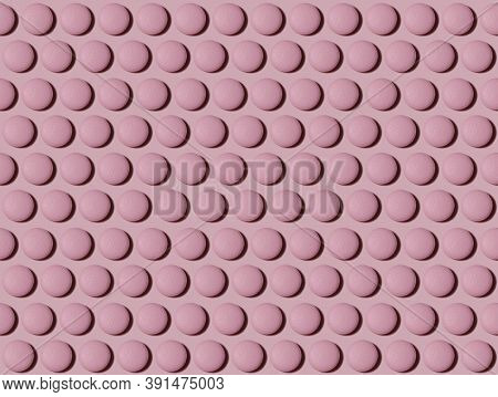 Drug Pattern. Repeating Round Pink Pills On A Pink Background. Textured Background Of Pills Lying In