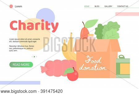 Website Interface For Charity Foundation Event Of Food Donation, Flat Vector Illustration. Mutual As
