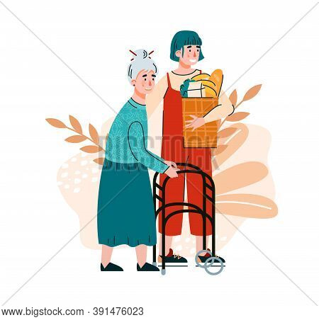 Woman Helping To Elderly Lady With Shopping. Cartoon Characters Of Volunteer And Old Woman At Decora