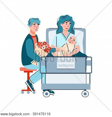 Couple With Newborn Baby In Maternity Hospital After Childbirth, Flat Cartoon Vector Illustration Is