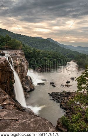 Top view of the Athirappilly waterfalls in Kerala, India