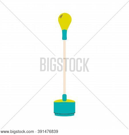 Punching Bag For Boxing Fist Strikes Training Standing On The Floor, Flat Vector Illustration Isolat
