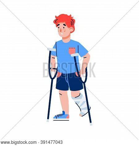 Little Boy With Fracture Of Leg On Crutches, Flat Cartoon Vector Illustration Isolated On White Back